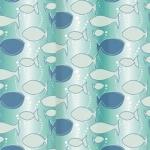 Купить штору для ванной 180х180 PEVA BHx-439 рыбки в Перми цена