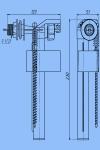 Арматура для унитаза АNI WC4050 боковой подвод, белая кнопка, шток