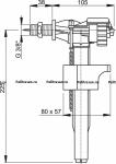 """Клапан для унитаза ALCAPLAST А16/1(А11/1) 3/8"""" бок. Металлическая резьба"""