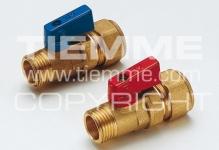 """Кран ТIEMМE 16х1/2""""н 2940029 алюмин/рыч/красн, желт.корпус"""