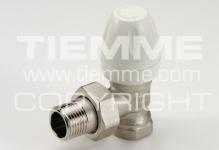 """Вентиль TIEMME 3300005 G 1/2"""" угловой с термостатом, американка (белый)"""