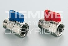 """Кран шаровый TIEMME SMALL 1/2"""" 2940010 п/м алюминиевый рычаг красный мини/желтый"""