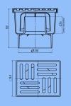 Трап для душа 15х15 АНИ ТА1210 D110 прямой слив, пластмассовая решетка