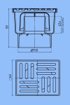 Трап для душа 15х15 АНИ ТА1212 D110 прямой слив, нержавеющая решетка