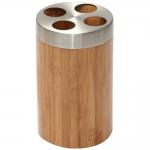 Купить Бонья 282331 Стакан для зубных щеток бамбук, нержавеющая сталь в Перми цена