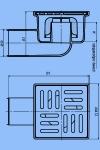Трап для душа 10х10 АНИ ТА5104 D50 бок.спуск,н/рег. решетка пласт