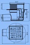 Трап для душа 10х10 АНИ TA5602 D50 боковой слив, нержавеющая решетка