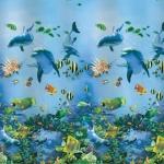Купить штору для ванной 180х180 PEVA H-352 дельфины в Перми цена